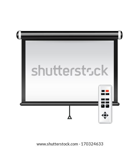 projector screen isolated on white background - stock vector