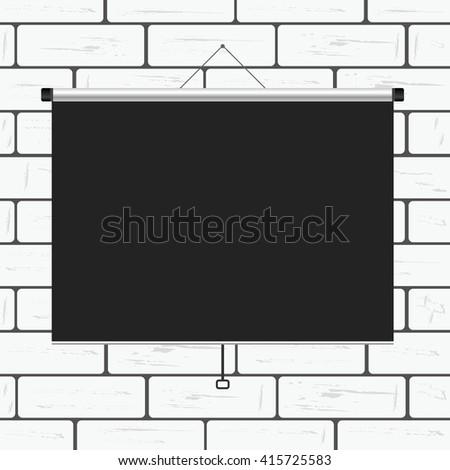 projector screen on brick art wall illustration - stock vector