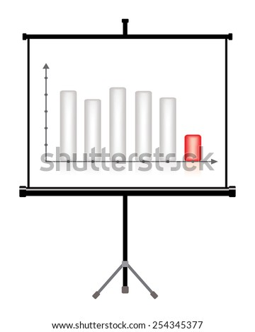 projector screen with business chart, decrease - stock vector