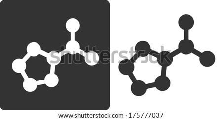 Proline amino acid molecule, flat icon style. Carbon, nitrogen and oxygen atoms shown as circles. - stock vector