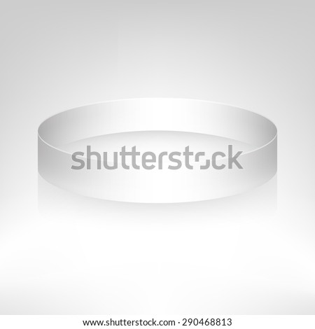 Promo bracelet. White silicone bracelet for hand. Vector illustration. - stock vector