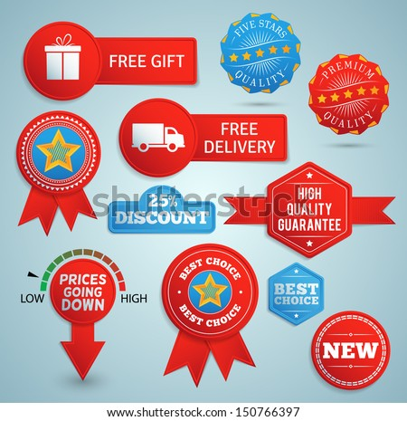 Promo elements in red and blue. EPS10. - stock vector