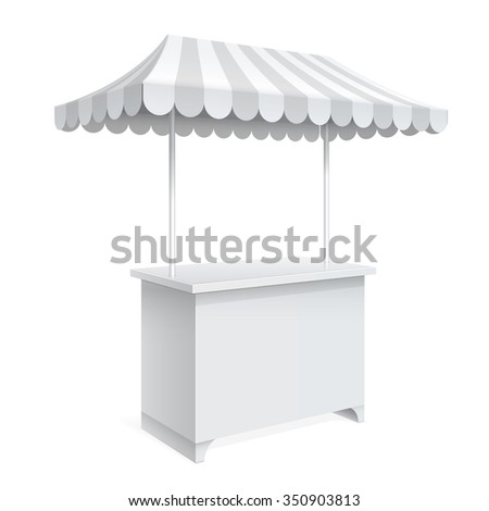 Promotion counter on wheels and a triangular roof covered with striped awning, Retail Trade Stand Isolated on the white background. MockUp Template For Your Design. Vector illustration. - stock vector