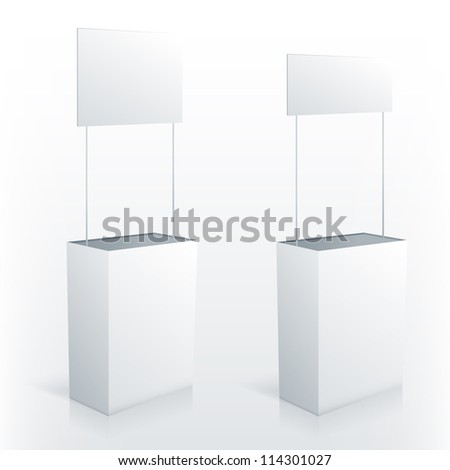 Promotion counter table with square topper. Vector promo stand. - stock vector