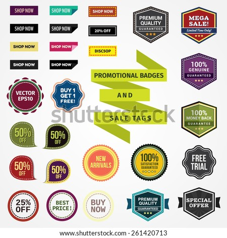 Promotional Badges and Sale Tags - stock vector