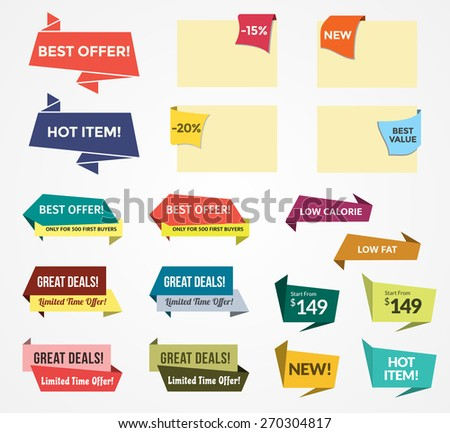 Promotional Badges and Sale Tags in Paper Style. Promotional badges and sale tags for your designs, such us for online shop, email newsletter or email marketing, web banner, print ad, etc. - stock vector