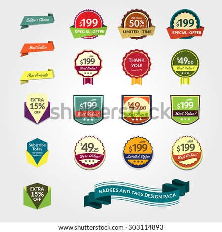 Promotional Badges and Sale Tags Pack. A pack of badges and tags for your designs, such us for web, online shop, newsletter or email marketing, advertising, etc. - stock vector
