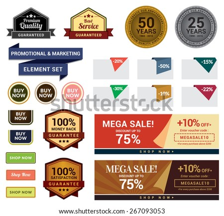Promotional & Marketing Set. This set contains badges, sale tags, buttons, and banners for your designs, such us for online shop, email newsletter or email marketing, web banner, print ad, etc. - stock vector