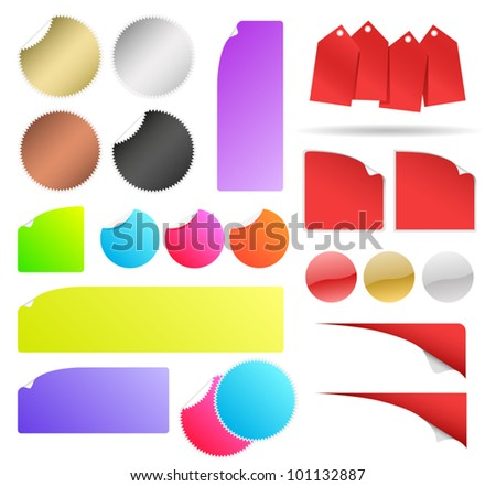 Promotional Sticker Kit. Contains stickers, banners, buttons and tags to help promote products and marketing initiatives like sales. - stock vector