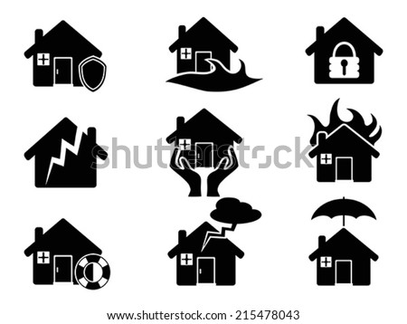 Property insurance icons set - stock vector