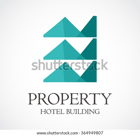 Property of hotel building abstract vector and logo design or template real estate residence business icon of company identity symbol concept - stock vector