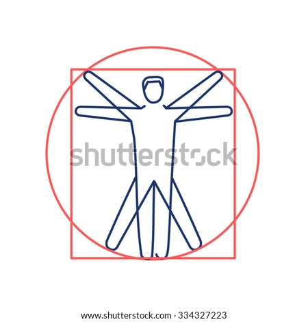Proportion of human body red and blue linear icon on white background | flat design alternative healing illustration and infographic - stock vector