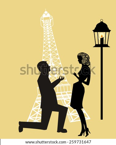 Proposal at  Eiffel  Tower Paris  - stock vector