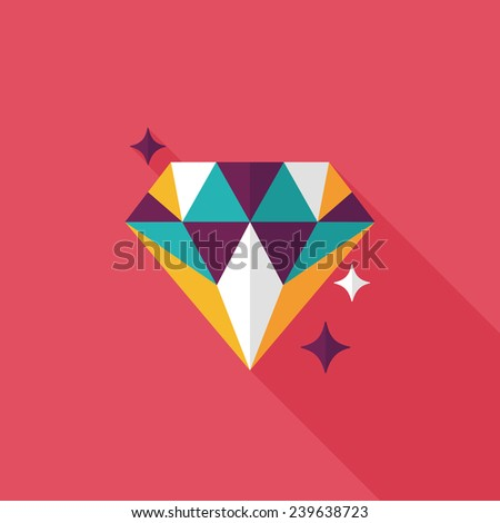 Propose diamond ring flat icon with long shadow,eps10 - stock vector