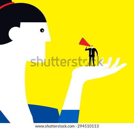 Proposing loudly - stock vector