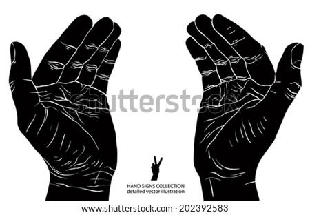 Protecting empty hands with place for some small object, detailed black and white vector illustration. - stock vector