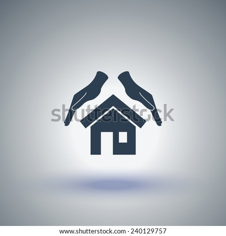 Protection and home insurance vector icon. House and hand icon - stock vector
