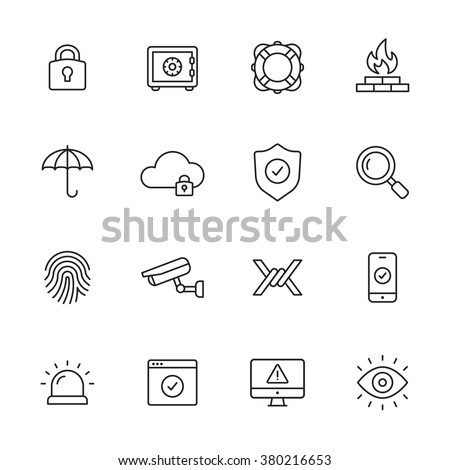 Protection and security line icons - stock vector