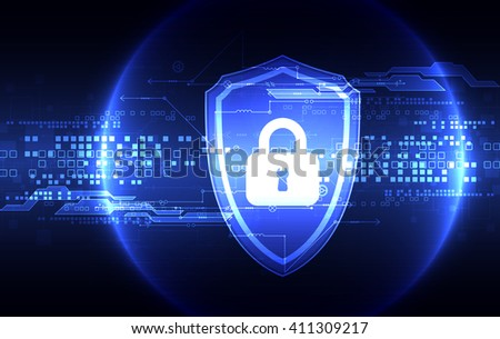 Protection concept of digital and technological. Protect mechanism, system privacy, vector illustration - stock vector