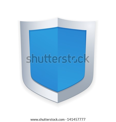 Protection concept. Vector illustration of blue glossy shield - stock vector