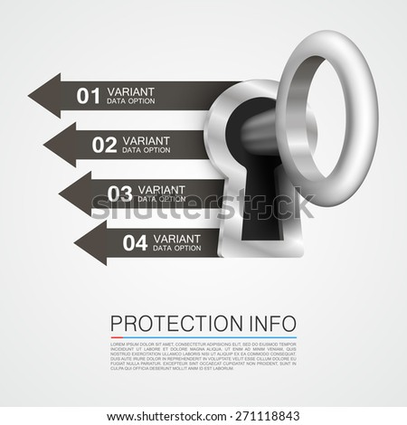 Protection info arrow. Vector illustration - stock vector