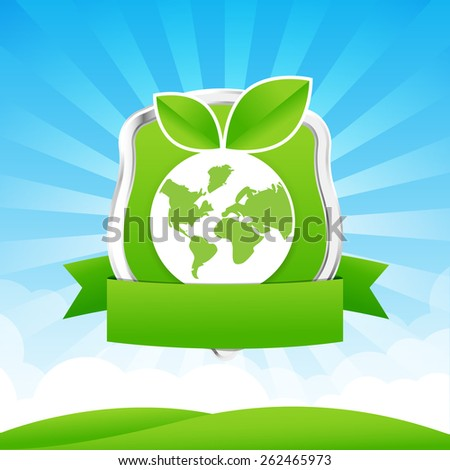 Protection shield and Blue sky cloud sunburst and green field illustration - stock vector