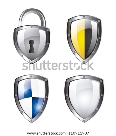 protection shield and padlock isolated over white background. vector - stock vector