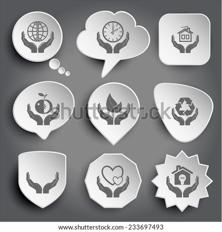 protection world, clock in hands, home, apple, life, protection nature, human hands, love, economy. White vector buttons on gray. - stock vector