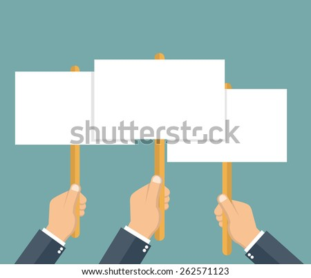 Protest concept - hands holding blank protest board in flat style - stock vector