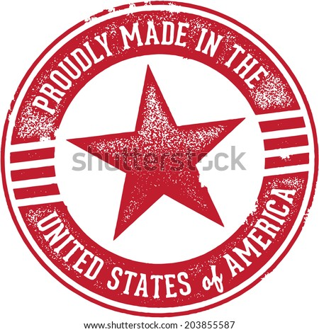 Proudly Made in the United States USA - stock vector