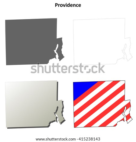 Providence County, Rhode Island blank outline map set - stock vector