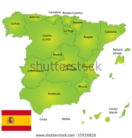 Provinces of Spain vector map - stock vector