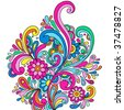 Psychedelic Abstract Paisley Doodle with Flowers and Swirls- Vector Illustration - stock vector