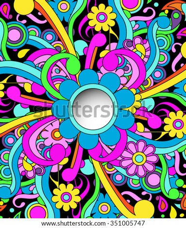 Psychedelic background with peephole cutout, eps10 vector - stock vector