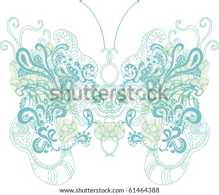psychedelic butterfly - stock vector