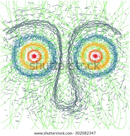 psychedelic face - stock vector