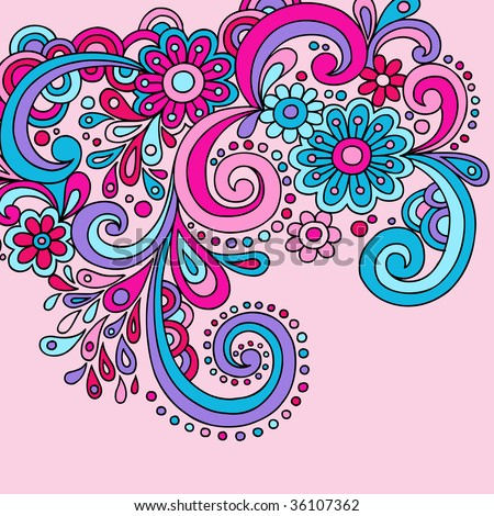 Psychedelic Groovy Abstract Paisley Swirls Vector - stock vector