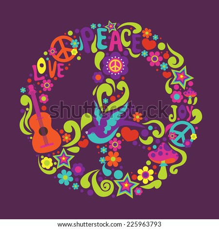 Psychedelic sign with many decorative elements and swallow - stock vector