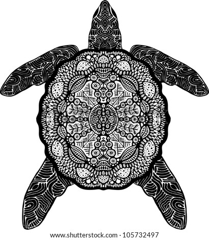psychedelic turtle top - stock vector
