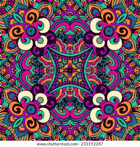 psychedelic vintage ethnic seamless vector pattern ornamental - stock vector