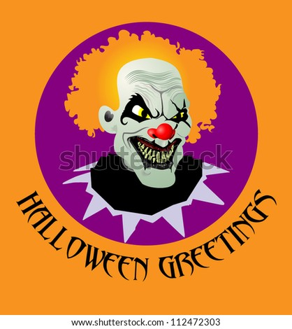 Psycho Halloween Clown - stock vector