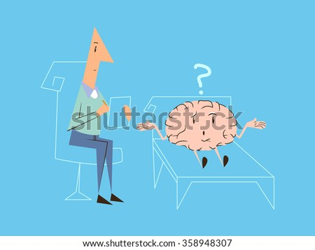 Psychologist brain therapy, vector illustration - stock vector