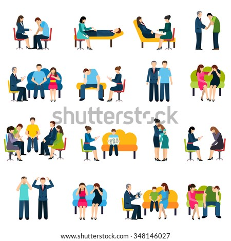 Psychologist counseling and support group for work stress related disorders flat icons set abstract isolated vector illustration - stock vector