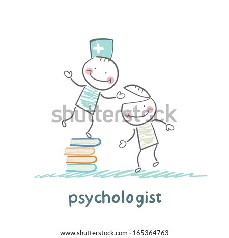 psychologist is on a stack of books and gives the patient a tablet - stock vector