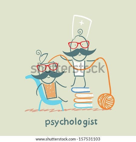 psychologist is on a stack of books and pulls the threads of the patient's head - stock vector