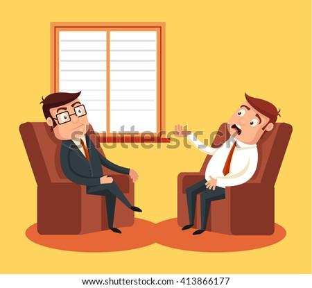 Psychologist with patient. Vector flat cartoon illustration - stock vector