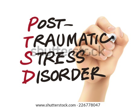 PTSD word written by 3d hand over white background - stock vector
