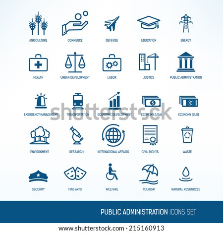 Public administration icons set - stock vector