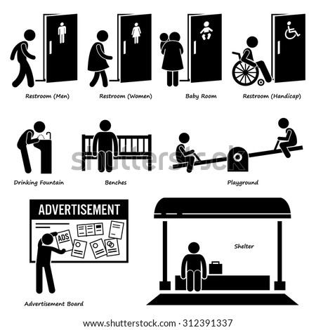 Public Amenities and Facilities such as Toilet, Drinking Fountain, Benches, Playground, Advertisement Board, and Shelter - stock vector