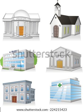 Public building cartoon set 3, church, hospital, police station, museum, high school, bank. - stock vector